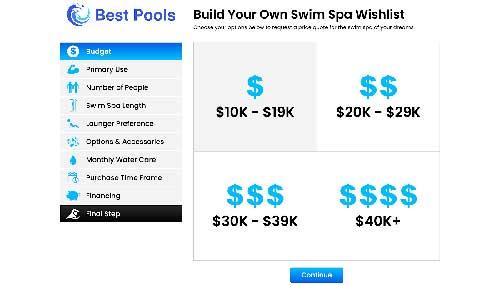 Build Your Own Swim Spa Wishlist